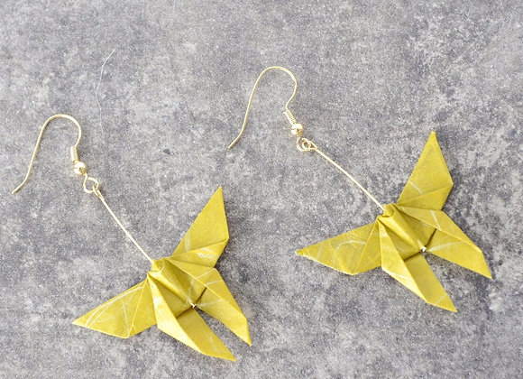 Mustard Origami Butterfly Earrings