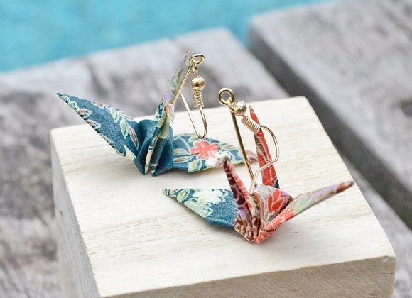 Teal-Green Origami Crane Earrings