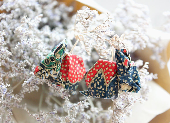 Midnight-Blue Origami Rabbit Earrings