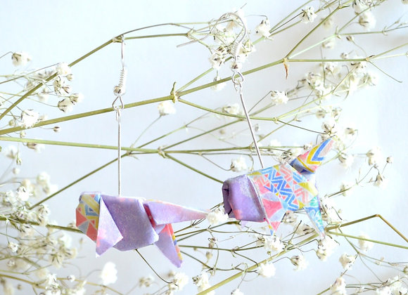 Lilac Origami Goldfish Earrings