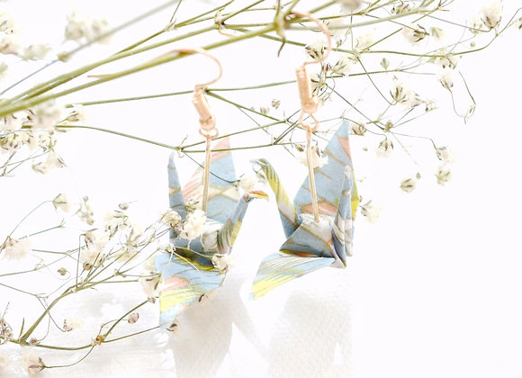 Light Blue Origami Crane Earrings