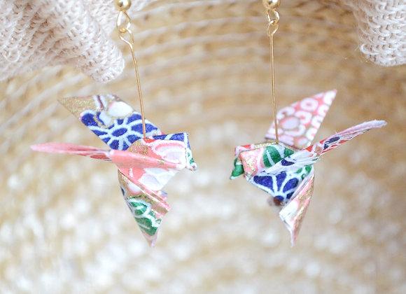 Pink Origami Songbird Earrings