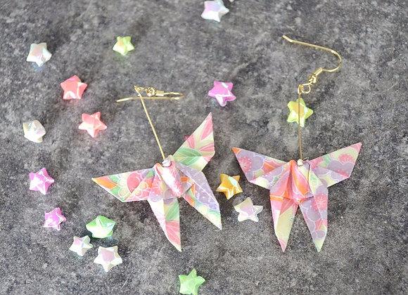 Pastel-Yellow Origami Butterfly Earrings