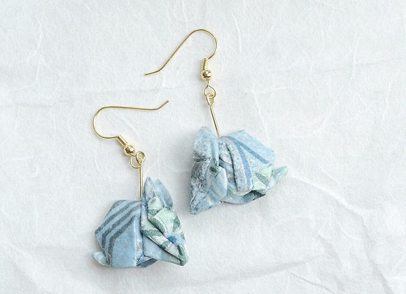 Light-Blue Origami Rabbit Earrings