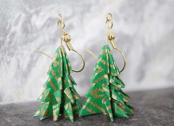 Green Origami Tree Earrings