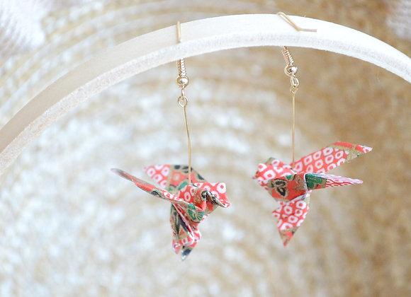 Red Origami Songbird Earrings