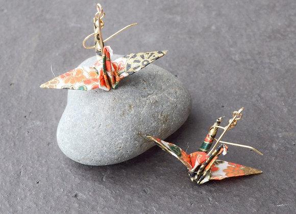 White Wheel Origami Crane Earrings