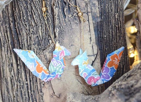 Light Blue Origami Squirrel Earrings