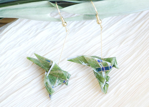Forest-Green Origami Songbird Earrings