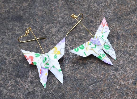 White Origami Butterfly Earrings
