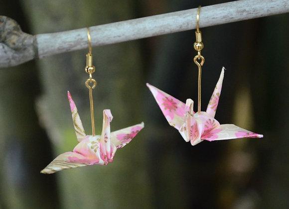 Pink Sakura Origami Crane Earrings