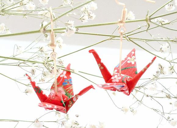 Sakura Red Origami Crane Earrings