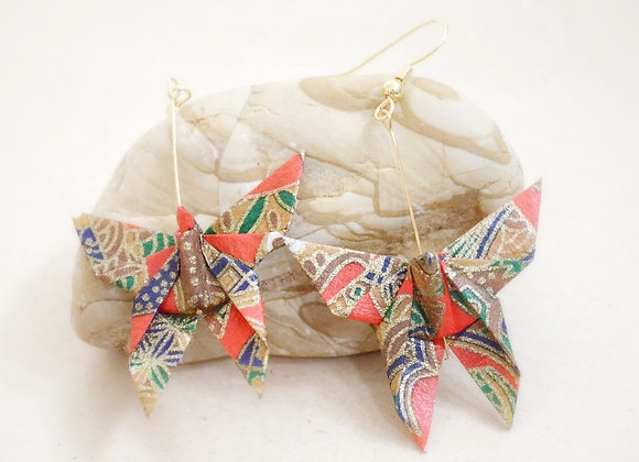 Red-Gold Origami Butterfly Earrings