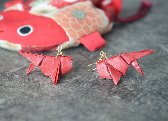 Cherry-Red Origami Goldfish Earrings