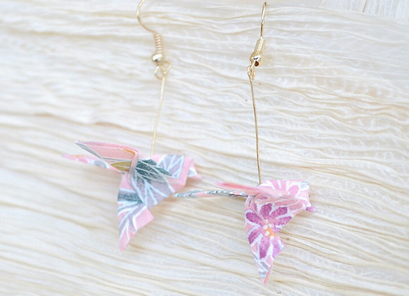 Pink Origami Songbird Earrings