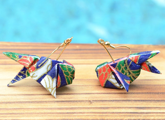 Royal Blue Origami Goldfish Earrings
