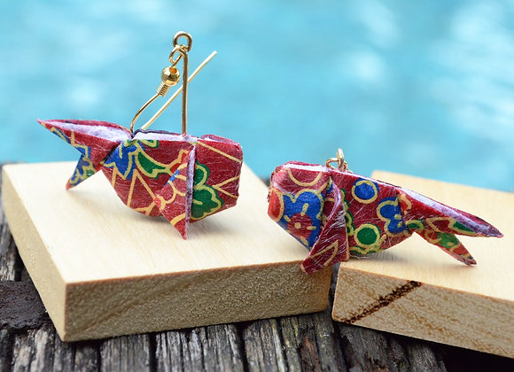 Wine-Red Origami Goldfish Earrings