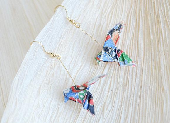 Blue-Red Origami Songbird Earrings
