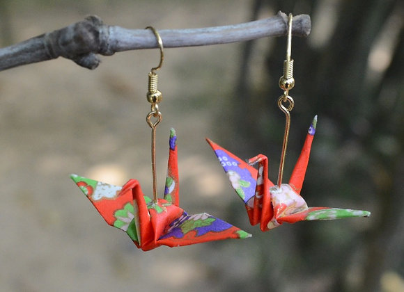 Red Origami Crane Earrings