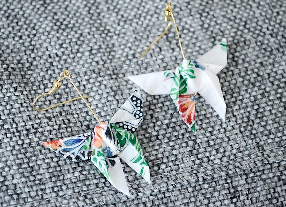 White Origami Butterfly Earrings