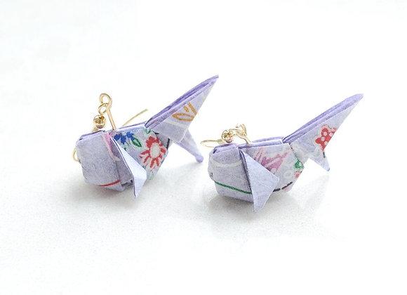 Lavender Origami Goldfish Earrings
