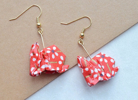 White Flowers on Red Origami Rabbit Earrings