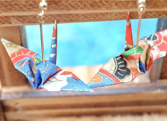 Blue Origami Crane Earrings