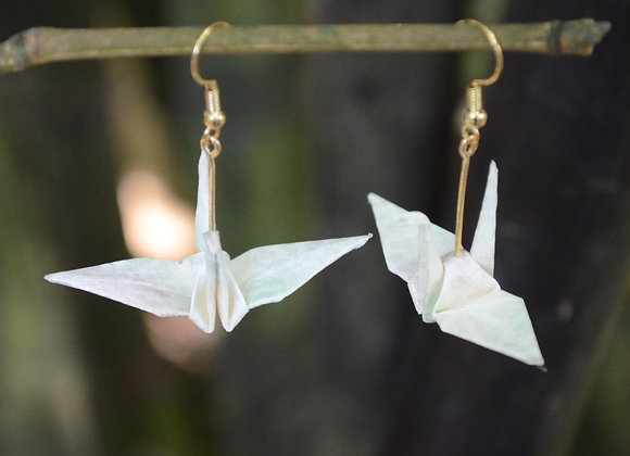 White Origami Crane Earrings