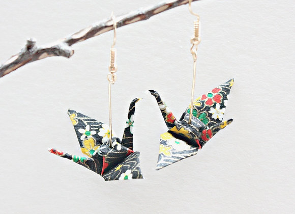 Black Origami Crane Earrings