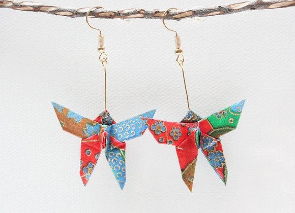 Red-Blue Origami Butterfly Earrings