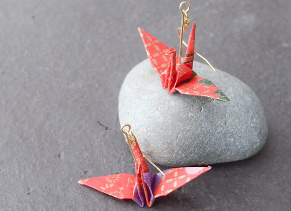 Cherry Red Origami Crane Earrings