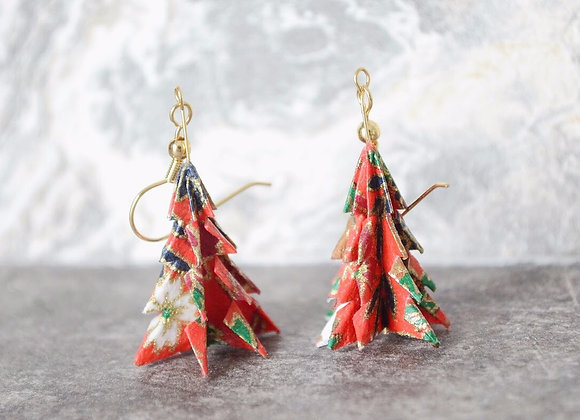 Red Origami Tree Earrings