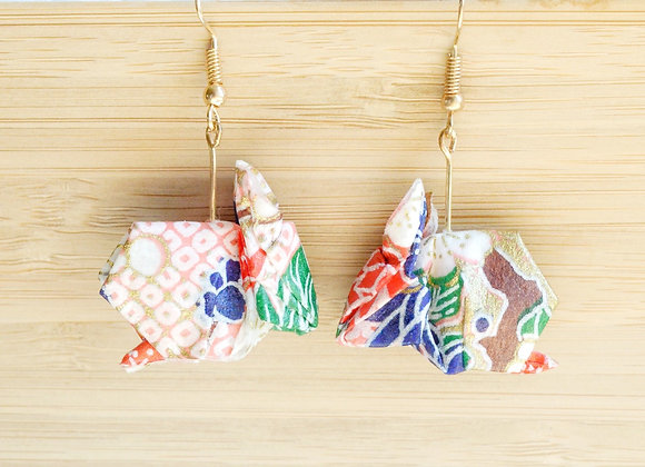 Lemonade-Pink Origami Rabbit Earrings