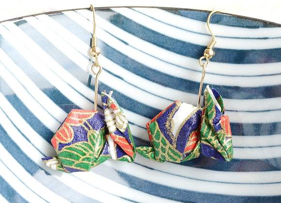 Midnight-Blue Leaves Origami Rabbit Earrings