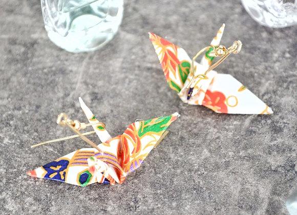 White Origami Crane Earrings