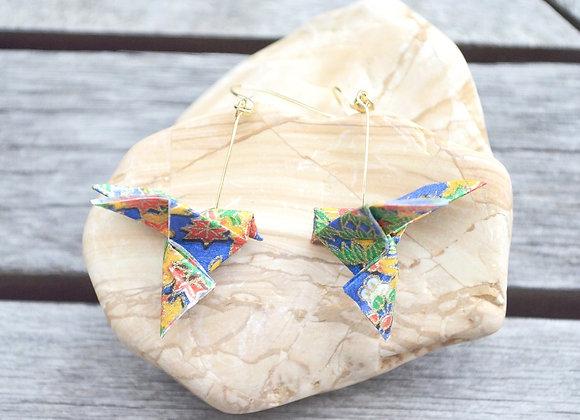 Sapphire-Blue Origami Songbird Earrings