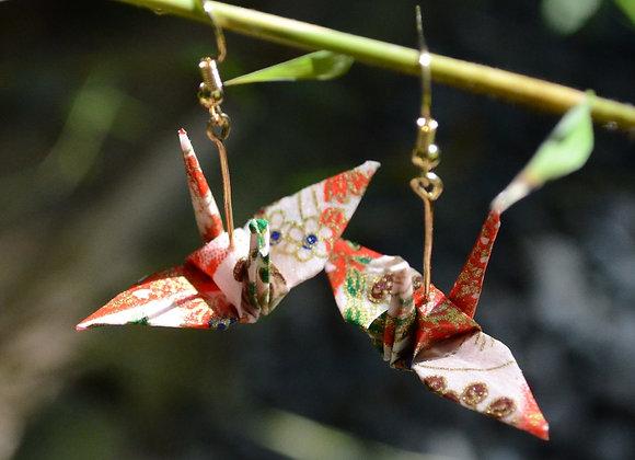 Red-Pink Origami Crane Earrings