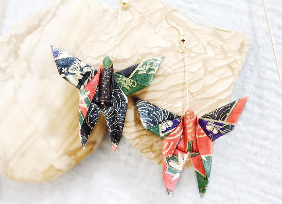 Black-Green-Red Origami Butterfly Earrings
