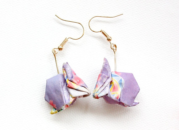 Lilac Origami Rabbit Earrings