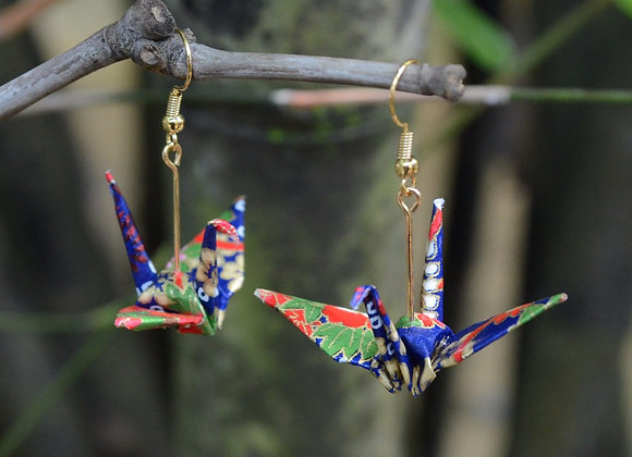 Royal Blue Origami Crane Earrings