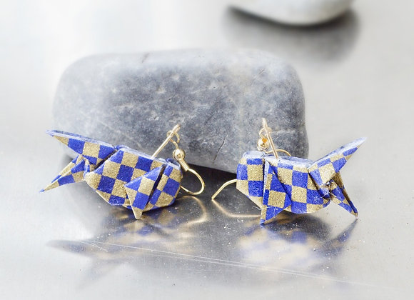 Blue-Gold Checkered Origami Goldfish Earrings