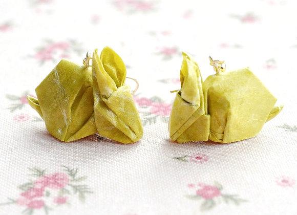 Mustard Origami Rabbit Earrings