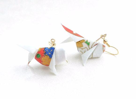 White Origami Goldfish Earrings