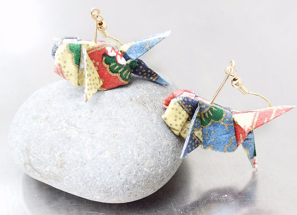 Sky-Blue Origami Goldfish Earrings