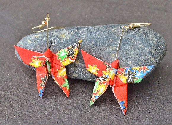 Red Origami Butterfly Earrings