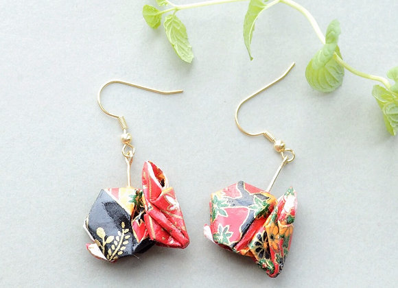 Red-Black Origami Rabbit Earrings