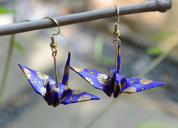 Violet Origami Crane Earrings