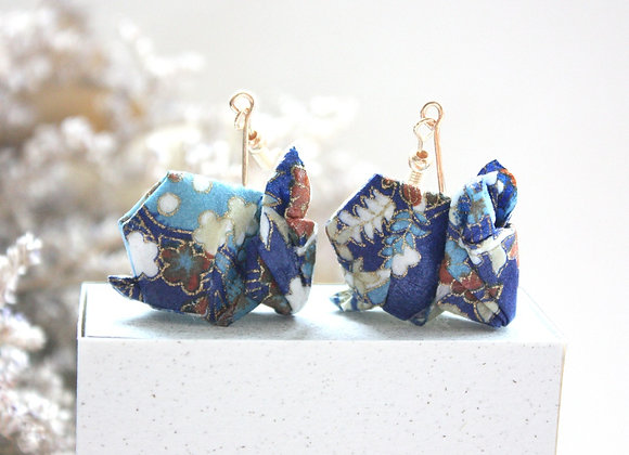 Blue Origami Rabbit Earrings