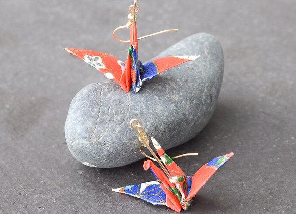 White-Red Origami Crane Earrings