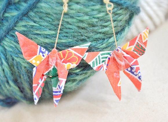 Red Origami Butterfly Earrings